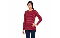 Denim & Co. Perfect Jersey Long Sleeve Stripe Top with Zipper Detail Wine M J