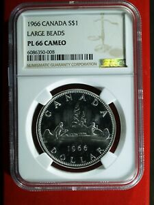 1966 Canada Silver $ - large beads - NGC PL 66 Cameo   stk#0008