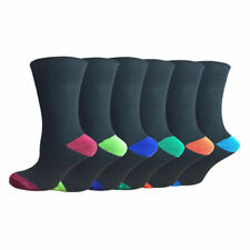 Mens black new socks 12 pairs coloured toe and heel size 6-11 designer Cotton