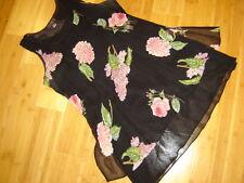Nostalgia black floral print sundress rayon bias cut short lined  L