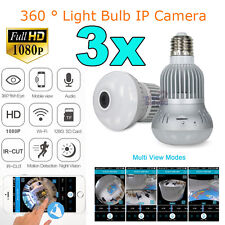 3x 1080P 2.0MP WiFi E27 Light Bulb Spy Hidden IP Camera CCTV Panoramic Security