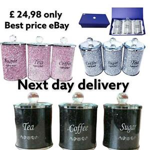 Set of 3 Crushed Diamond Tea Coffee Sugar Storage Canister Jars Pot Container