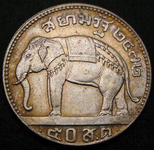 THAILAND 50 Satang / 1/2 Baht BE2472 (1929) - Silver - aUNC - 1399 *