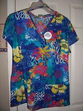Nwt Bobbie Brooks Blue Floral Design Uniform Scrub Top Size Medium Top #4