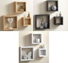 Cali Modern Set of 3 Floating Wall Shelves Display Cube Shelf White Black Oak