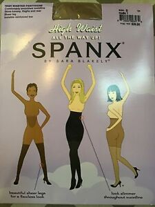 SPANX High Waist All The Way Up! Control Top Sheer Leg Pantyhose Size D Nude New