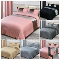 Crushed Velvet Band Faux Silk Eyelet CURTAINS, Panel DUVET Cover Bedding Set