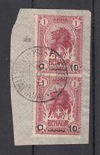 Frammento ITALIA COLONIE SOMALIA 1903-07 Elefante e Leone 2 Usati 10 su 1 OBBIA