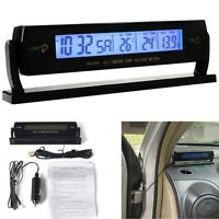Multi Car Digital Battery Alarm TIME + Thermometer + Car Voltage LED Backlight