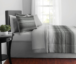 Mainstays Ombre Stripe Microfiber Reversible Bed-In-A-Bag, Queen, Grey, 8-Pieces
