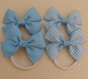 Handmade School Colour Hair Bow Bobbles baby blue x4