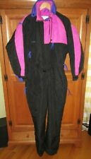 Ladies Vintage Columbia Radial Sleeve Black Pink Ski Suit Jumpsuit Size Large