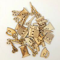 KE_ KF_ 50 Pcs Sewing Tool Shape Wooden Buttons DIY Needlework Scrapbooking Cr