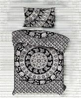 Elephant Mandala Duvet Quilt Cover Bedding Ethnic Reversible Cotton Blanket Set