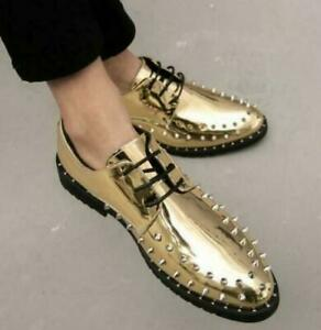Mens Patent Leather Punk Rivet Pointed Toe Lace Up Fashion Shoes Studded Fashion