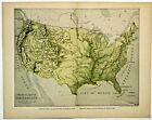 TOPOGRAPHICAL, PHYSICAL MAP OF UNITED STATES Antique original map 1903