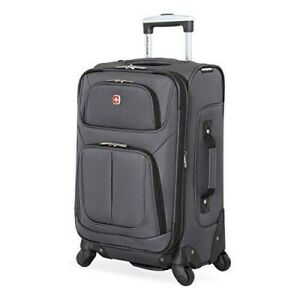 SwissGear Sion Softside Luggage with Spinner Wheels Grey Carry-On 21-Inch