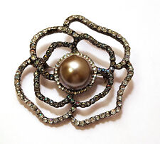 Vintage AB Rhinestone Strands Surrounding Steel Grey Faux Pearl Cabochon Brooch