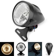 """Black Bullet Headlight Lamp 4 3/4"""" Motorcycle For Hy Chopper Bobber Custom CA"""