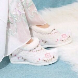 Women's Embroidery Floral Ankle Boots Hanfu Chinese Style Fur Liner Warm Winter