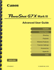 Canon Powershot G7X Mark III Camera Advanced User Guide Owner's Manual