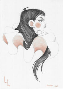 original drawing A4 402KV art samovar Colored Pencil creative woman illustration