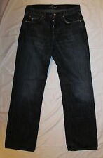 men's 7 FOR ALL MANKIND RELAXED very soft dark wash distressed button up jeans