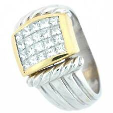 18k Diamond Wedding Band with Invisible Setting 1.04Ctw-  Two Tone Diamond Ring