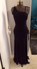 City Triangles Black One Shoulder Ruched Bias Cut beaded Stretch Gown Sm Or Xs