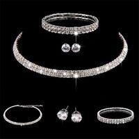 Strass Kristall Choker Halskette Ohrringe und Armband Hochzeit Schmuck Set  DE#