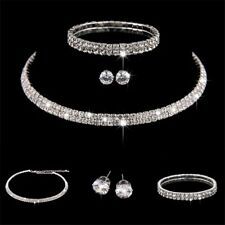 Rhinestone Crystal Choker Necklace Earrings and Bracelet Wedding Jewelry Sets ..