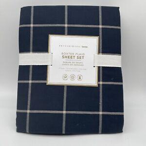 Pottery Barn Teen Boxter Plaid Sheet Set Twin Xl Navy Blue White NEW