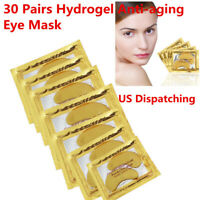 60pcs Crystal Gold Collagen Under Eye Patches Eye Mask Remove Dark Circle Bag US