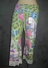 Claire Pettibone Pant Capri Loungewear Jungle Rose Leopard Lace L NWT $112