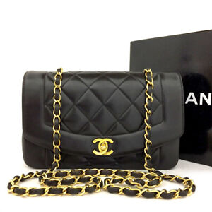 CHANEL Quilted Matelasse Diana 22 CC Logo Lambskin Chain Shoulder Bag /70793