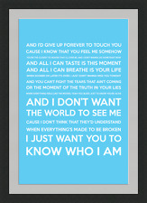 I Don't Want The World To See Me (Song Lyrics) - Blue - Framed & Mounted - A3 -