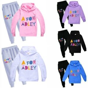 A for Adley Youtuber Girls Hoodie+Pants Tops&Trousers Fun Sportwear Tracksuit
