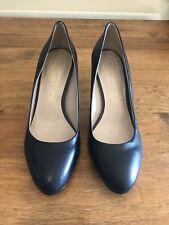 M&S Autograph Navy Blue Leather Heels Size 6