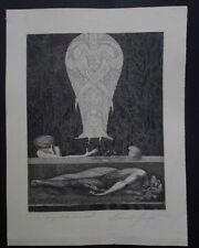 Ernst Fuchs, Das Begräbnis Samsons , Radierung , betitelt und  handsigniert