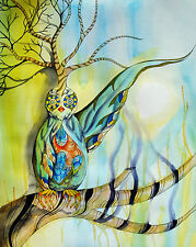 Bird Owl Tree Surreal Watercolor Paint Drips Colorful - 8x10 Archival Print
