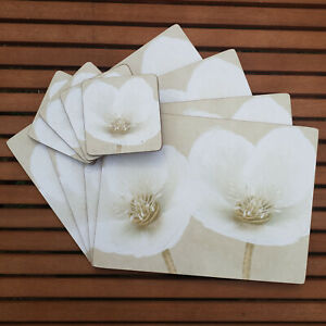 Set of 4 White Floral Cork Placemats & Coasters New Helleborus Table Place Mats