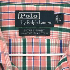 POLO RALPH LAUREN Estate Sport Pink Green PLAID L/S BUTTON SHIRT MEN'S L LARGE
