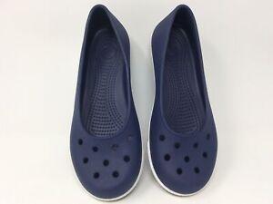Crocs Nautical Navy & White Crocband Classic Airy Comfort Flat Women's size 8 W