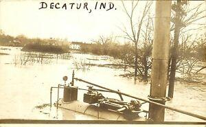 DECATUR INDIANA FLOOD SCENE, AMATEUR RPPC, VINTAGE POSTCARD