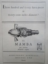 10/1946 PUB ARMSTRONG SIDDELEY MAMBA GAS TURBINE PROPELLER ENGINE ORIGINAL AD
