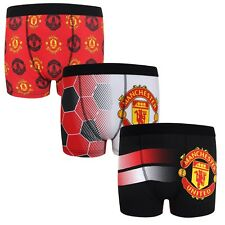 Manchester United FC Official Football Gift 3 Pack Boys Crest Boxer Shorts 9-10 Years