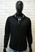 TOMMY HILFIGER Uomo Camicia Camicetta Taglia L Maglia Shirt Man Hemd Nero Slim