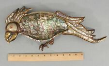 1960 Vintage Metales Hand Wrought Mexico Mixed Metal & Abalone Parrot Tray, NR