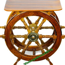 Antique Ship Wheel Table 36 Inch Nautical Brass Decorative Solid Wood Style Gift