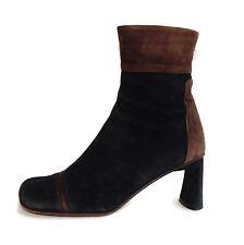 Materia Prima Goffredo Fantini Black & Brown Suede Color Block Heel Boots 36 1/2